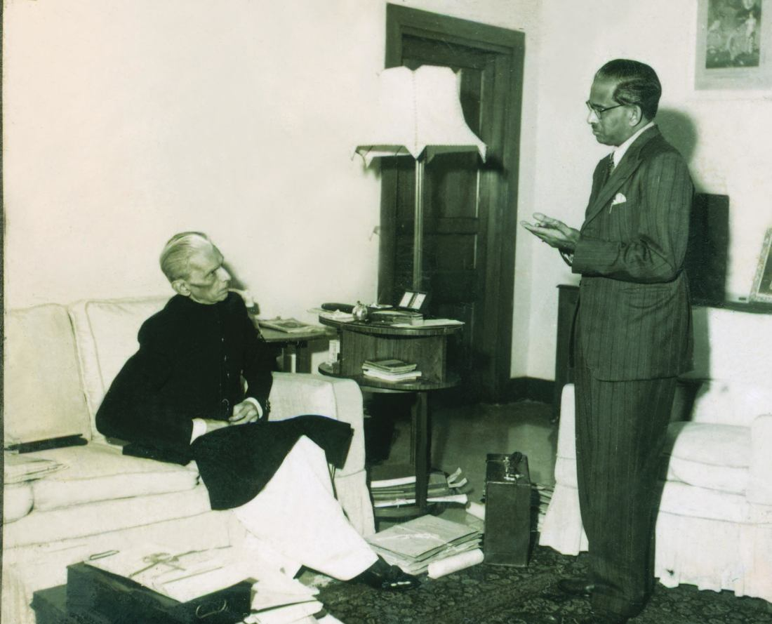 THE Quaid-i-Azam in conversation with Altaf Husain, the first editor of Dawn Karachi, who visited Mr Jinnah to wish him a happy birthday on December 25, 1947. | Photo: PID.