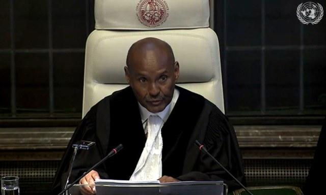 کیس کا فیصلہ عالمی عدالت انصاف کے صدر جج عبد القوی احمد یوسف نے سنایا — اسکرین شاٹ