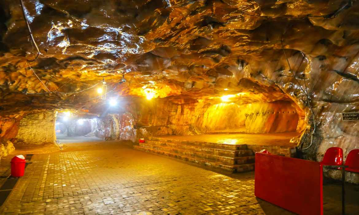 A view of the entrance to Sheesh Mahal inside the Khewra Salt Mines.
