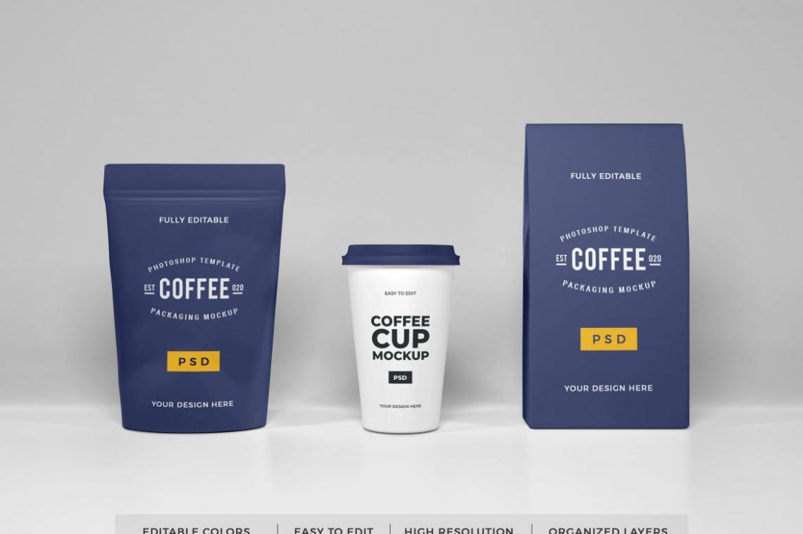 Download Free Coffee Packaging Set Mockup | Deeezy