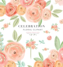 cute pretty peach pink watercolor flowers clipart with transparent  [ 1000 x 1000 Pixel ]