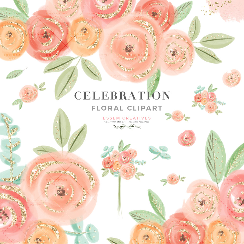 hight resolution of cute pretty peach pink watercolor flowers clipart with transparent