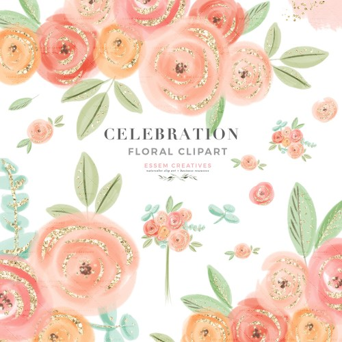 small resolution of cute pretty peach pink watercolor flowers clipart with transparent