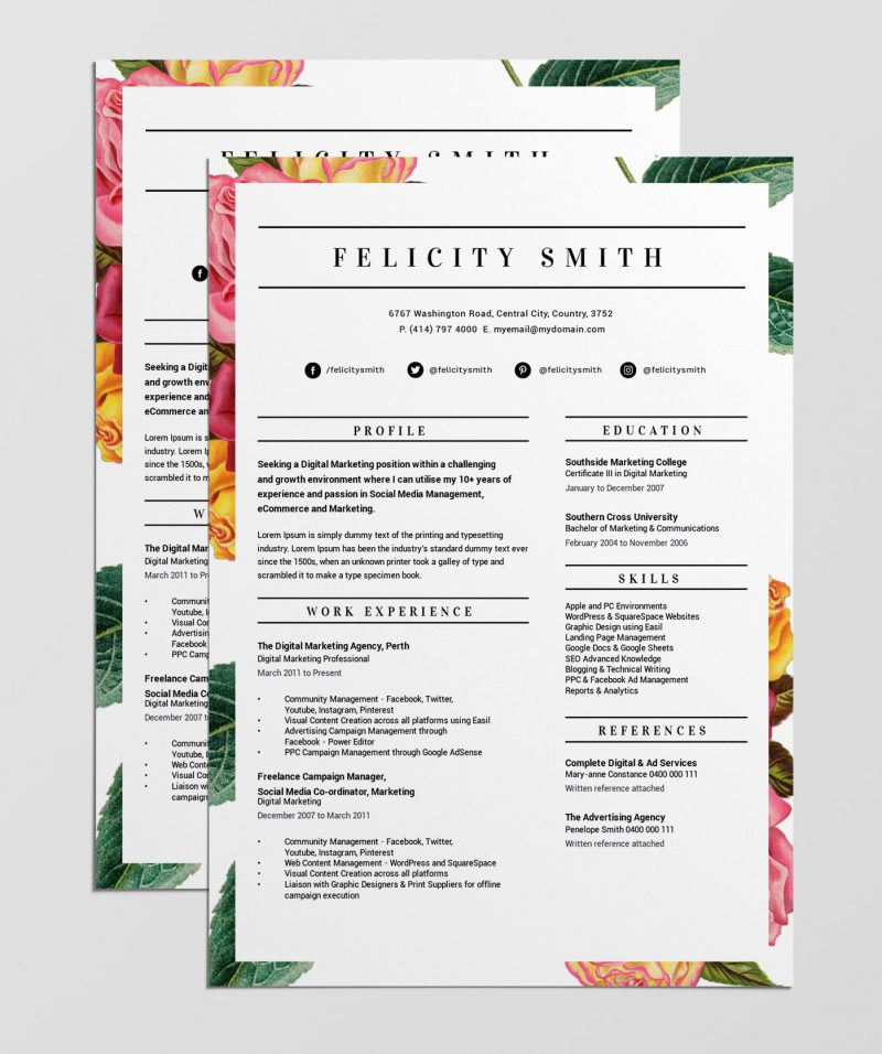 free stand out resume template