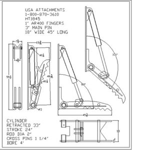 Hydraulic Thumb 18 034 x45 034 for Excavator 19000 23000