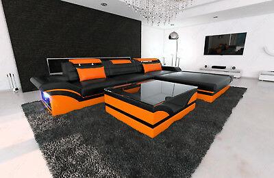 Ecksofa PARMA L Form Leder Couch mit LED Beleuchtung und Recamiere Designer Sofa