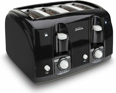 Sunbeam Electric Bread Toaster 4-Slice Extra Wide Slot for Bagel,Cool Touch Tech