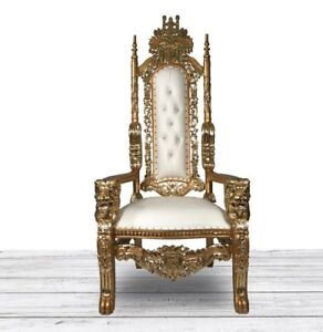 how to make a queen throne chair metal folding chairs in bulk king ebay gold and white lion hand carved intricately detailed gothic