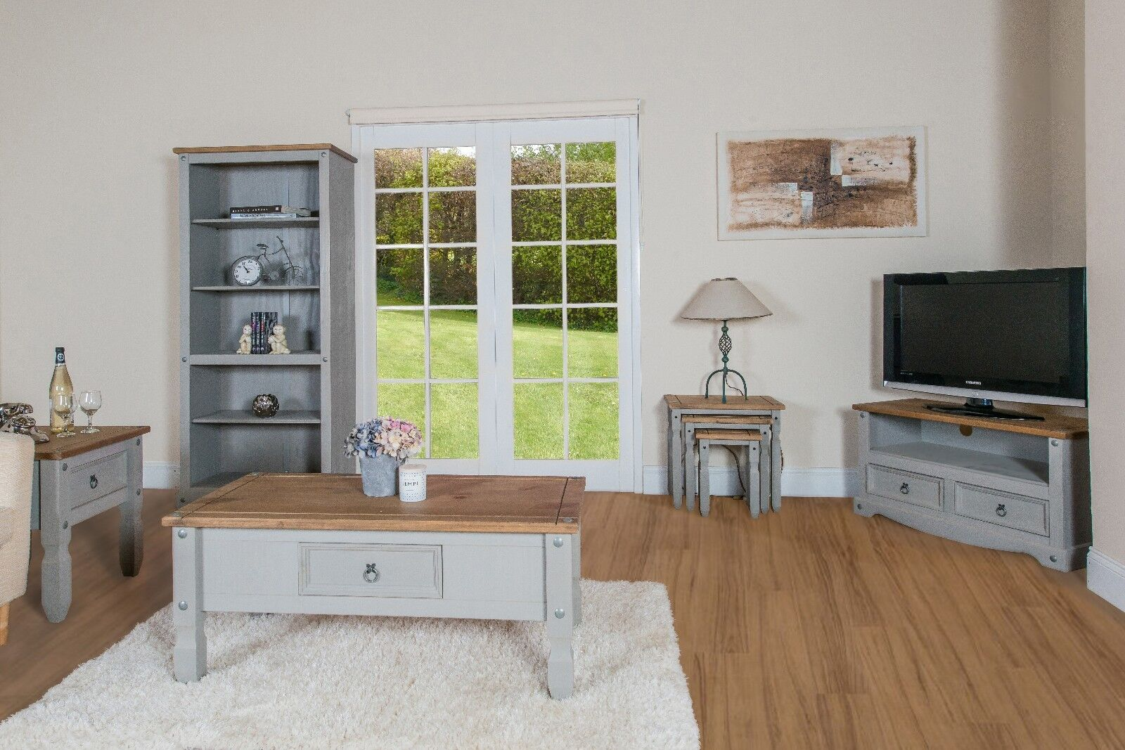 PREMIUM Corona Grey Washed-Effect Solid Pine 2 Drawer TV