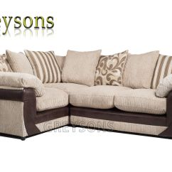 Brown And Beige Corner Sofa Wall Mounted Table Lush Settee Fabric Suite 2 3 Seater