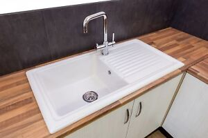 ceramic kitchen sink formica cabinets sinks ebay reginox rl304cw single bowl traditional white reversible