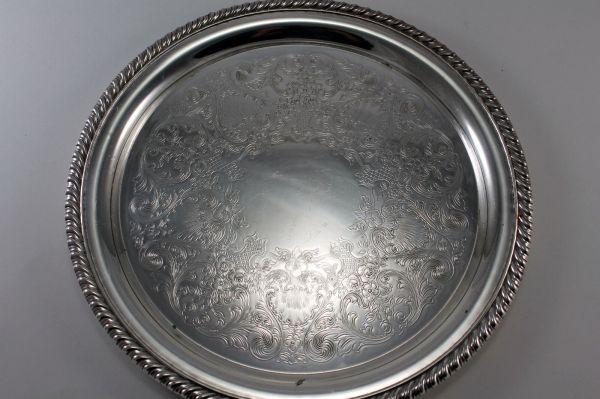 Vintage Silver Plate Ornate Floral Tray Serving