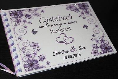 Gästebuch zur Hochzeit , lila - schwarz