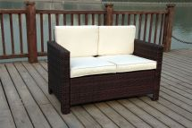 Brown Wicker Rattan Table and Chair Sets