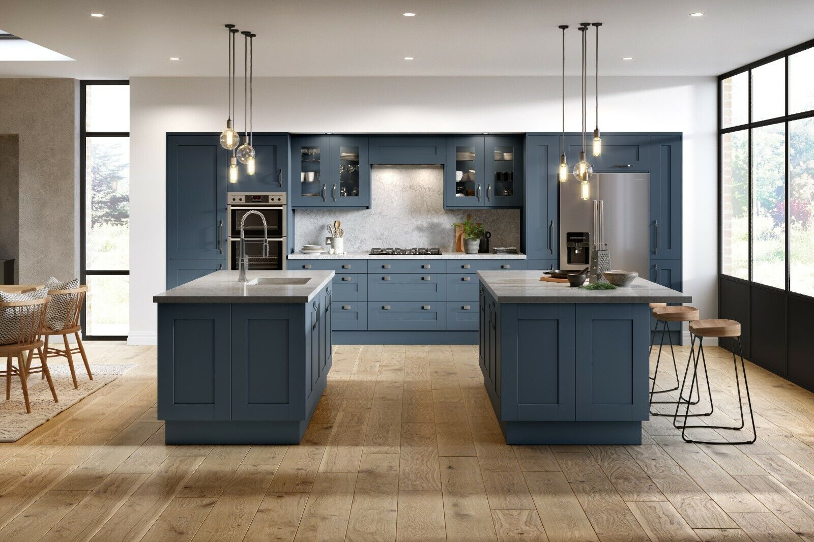 New Not Ex Display Dark Blue Shaker Kitchen Units Cabinets Cupboards Doors Ebay