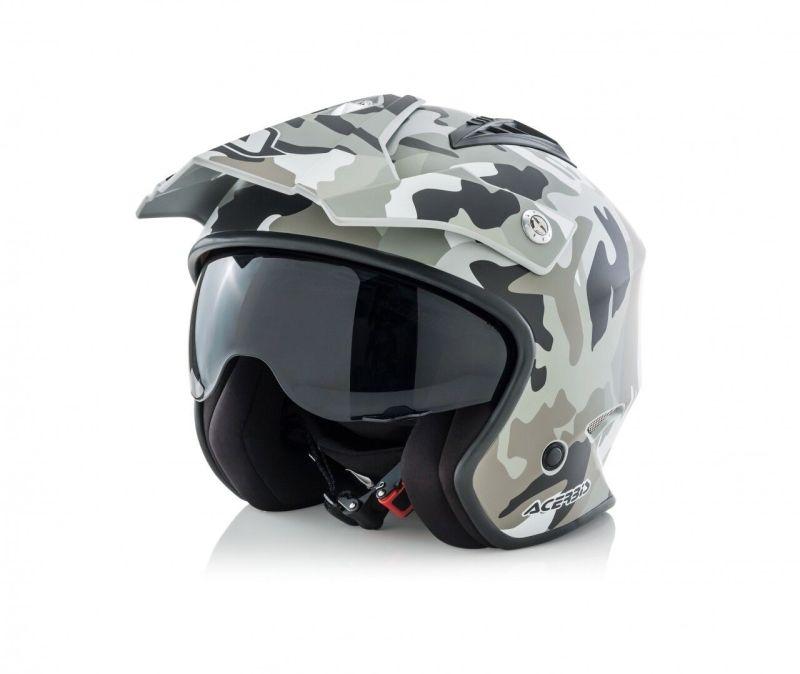 Casco moto Jet Aria trial scooter quad camouflage camo mimetico opaco Acerbis