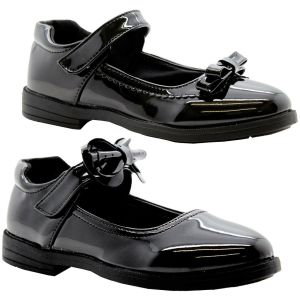 GIRLS BLACK PATENT SCHOOL SHOES KIDS BOW STRAP PARTY BALLERINA FORMAL PUMPS SIZE   57