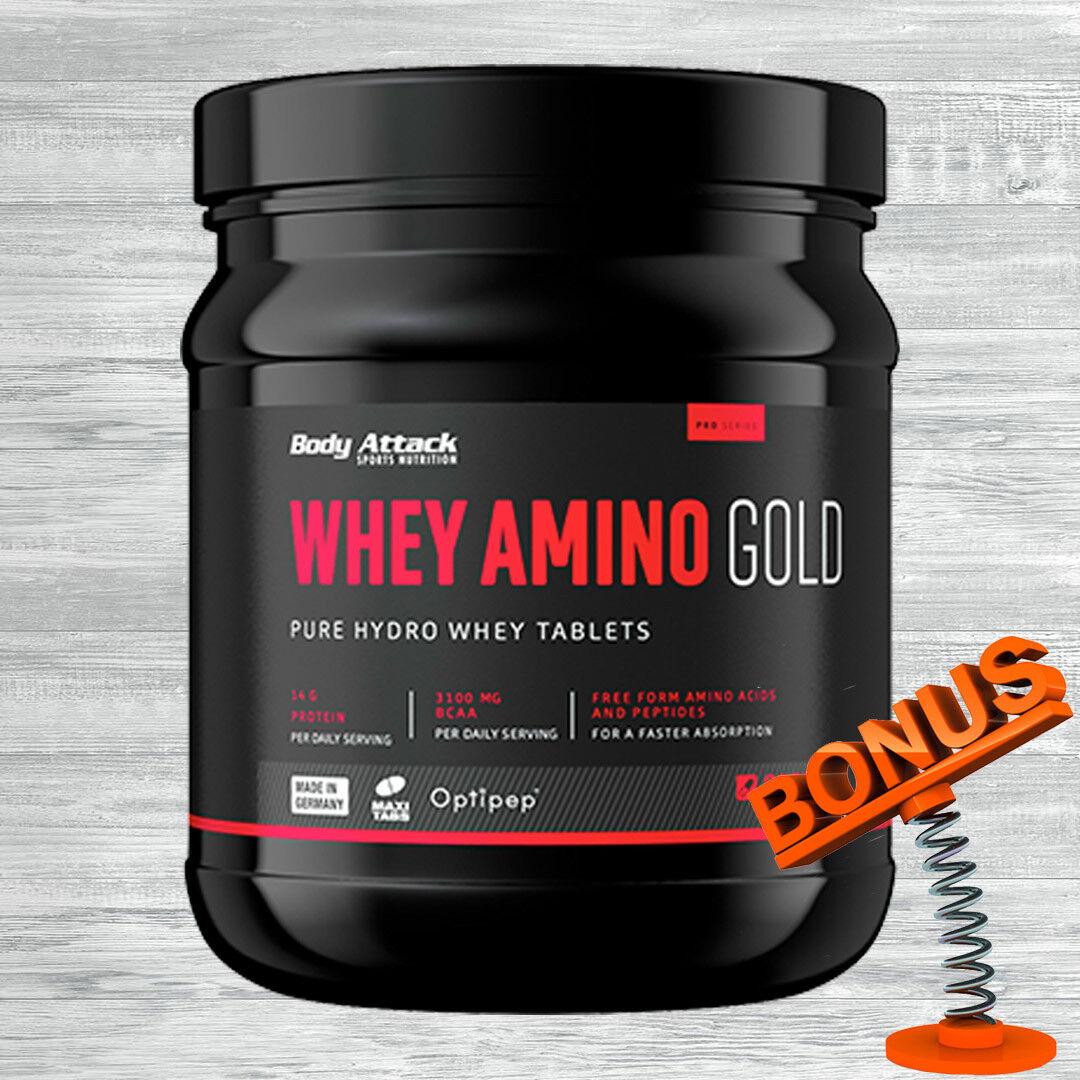 30,62 €/kg Body Attack Whey Amino Gold 325 Tabletten +Bonus / BCAA Molkenprotein