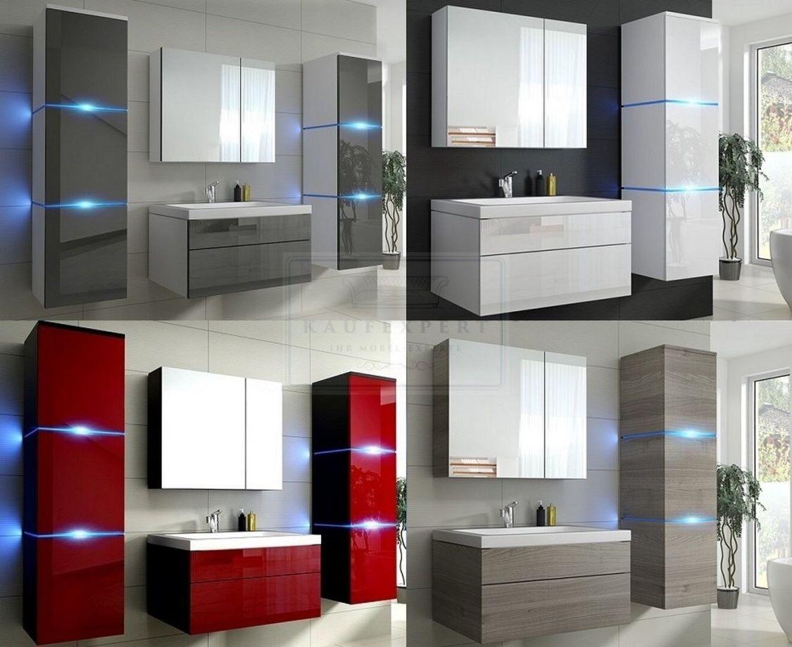 Badmöbel LUX NEW Badezimmermöbel KERAMIK Hochglanz Holzoptik LED Beleuchtung OVP