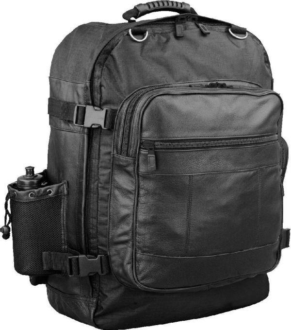 Motorcycle Sissy Bar Travel Bag Pack Leather & Nylon