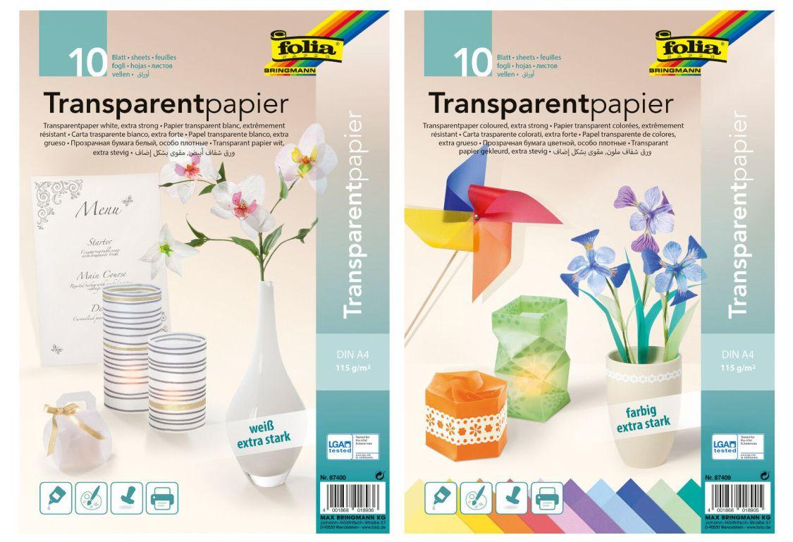 Transparentpapier folia® DIN A4, 115 g/m², weiß (5,93 €/m²) farbig (6,09 €/m²)