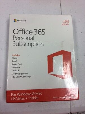 Microsoft Office 365 Personal, 1-year subscription, 1 user, PC/Mac Key Card