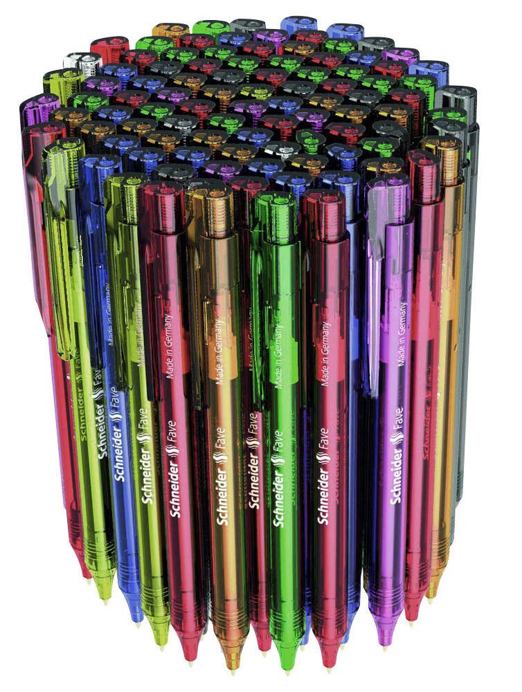 Schneider Kugelschreiber FAVE Blauer Mine farbsortiert 25, 50, 100 od. 200 Stück