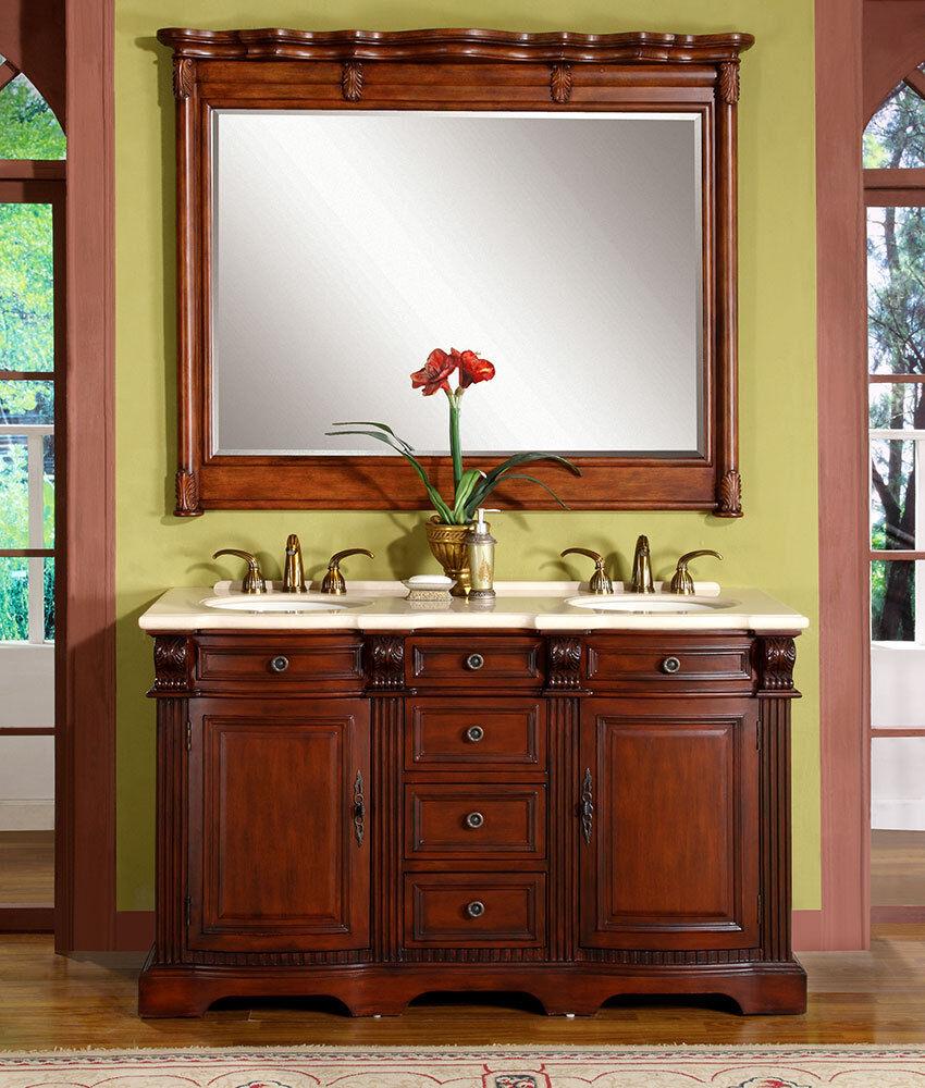 58inch Marble Stone Top Bathroom Double Sink Vanity Lavatory Cabinet 0197CM 609224900600  eBay
