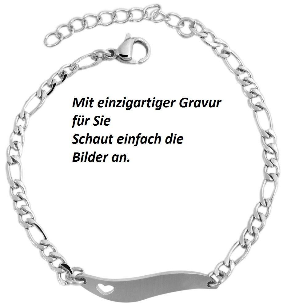 Kinderamrkette Armband Armkette Edelstahl  Silber mit Gravur Geschenk Dame