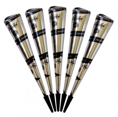 5x Golecha Henna Paste Kegel Cones Black (Schwarz) ohne P.P.D, klinisch getestet