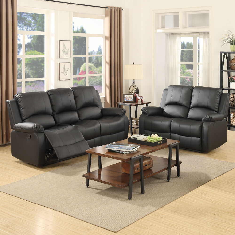 reclining leather living room furniture sets american 3 2 seater sofa set loveseat couch recliner black