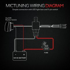 Led Light Bar Wiring Diagram With Relay Chevy Trailblazer Fuse Box Mictuning Hd Wire Harness 12 Awg 600w 60a Green Switch