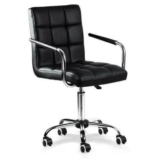 Office Chair Height Adjustable Mid Back PU Leather 360° Swivel Large Seat Stylis