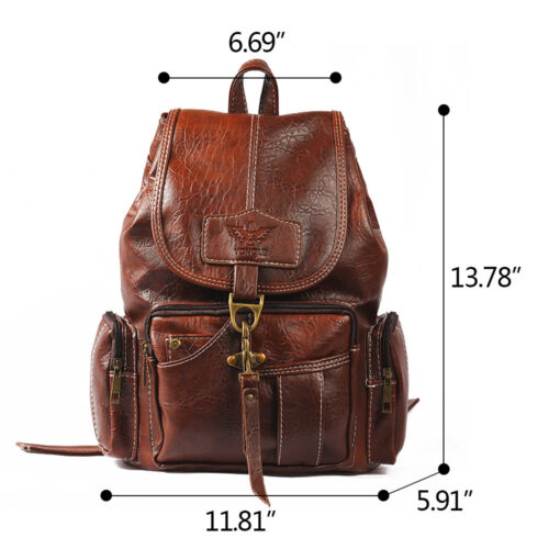Vintage Womens Leather Backpack Shoulder School Shoulder Satchel HandBag Travel 7