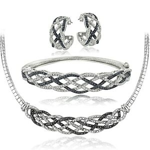 3/4 Ct Black & White Diamond Weave Necklace, Bracelet, Earrings Set