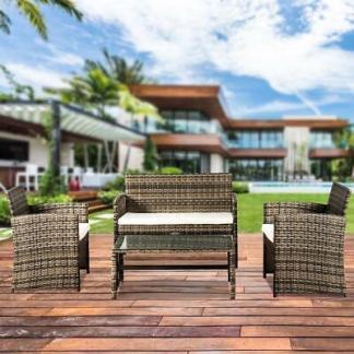 Patio Wicker Furniture Outdoor 4PC Rattan Sofa Garden Conversation Set Mix Gray