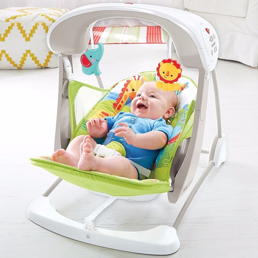 swing chair baby age scandinavian design chairs fisher price rainforest friends take along seat used group 0 12 months