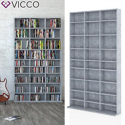 VICCO CD DVD Bluray Regal Medienregal Standregal Regalwand Bücherregal Grau