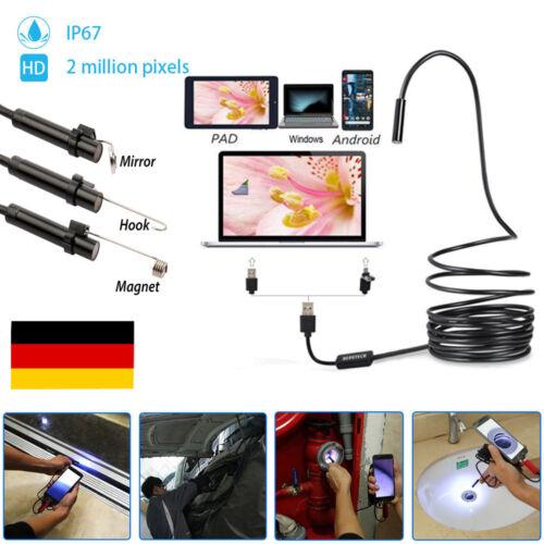 6 LED 5M HARTES KABEL USB Endoskop Kamera 7mm HD Inspektion für Handy Android PC