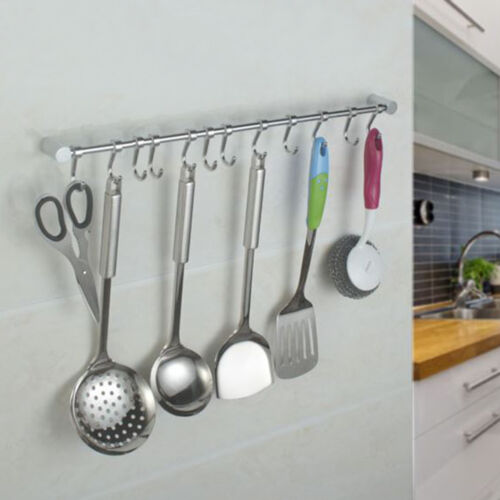 kitchen utensils holder best designs cupboard wall mounted 12 hooks tool hanging rail rack