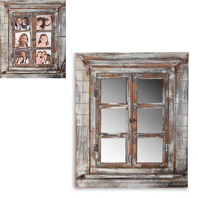 Wandspiegel Spiegel Bilderrahmen Fensterladen Fotorahmen Holz Ablage Deko 64cm