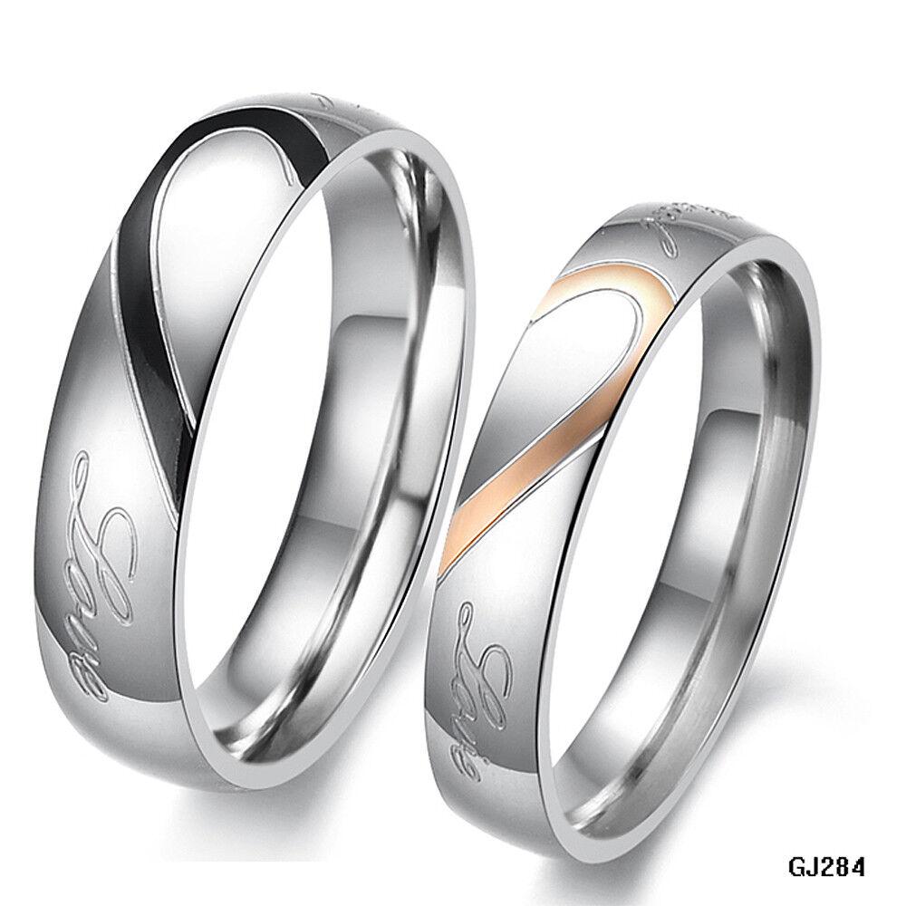 Edelstahl Ring Verlobungsringe Partnerringe Trauringe Eheringe Gravur REAL LOVE