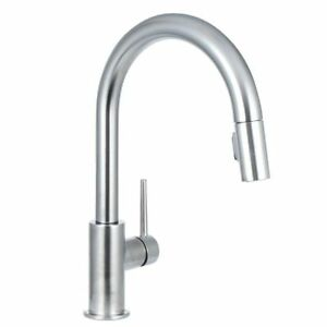 single kitchen faucet island butcher block delta 9159 ar dst handle pull down stock photo
