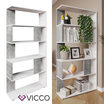 VICCO Raumteiler Weiss Beton Bücherregal Standregal Wandregal Büroregal
