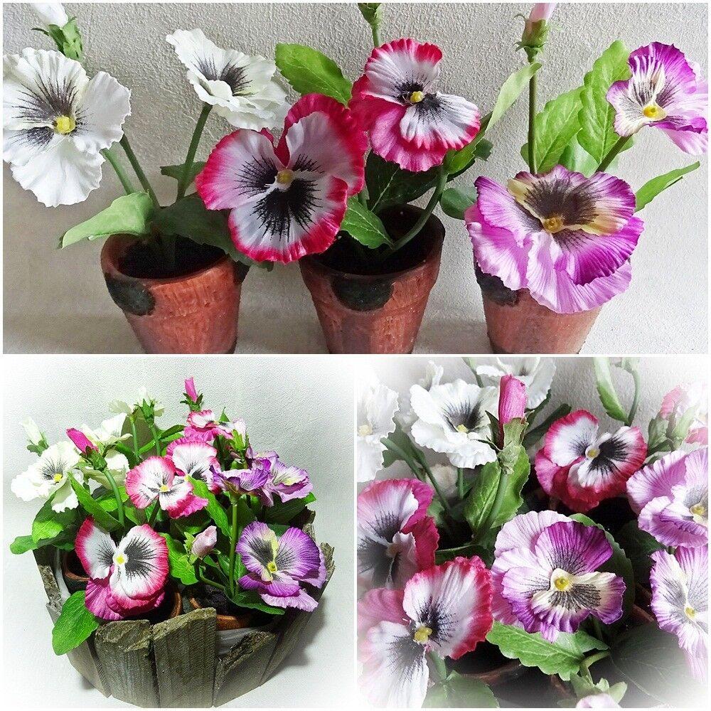 Stiefmütterchen i.Topf H 17 weiß Kunstblume Kunstpflanze künstliche Blumen Blume