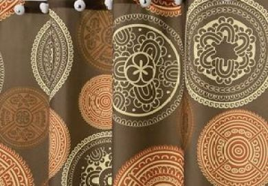 Orange And Brown Shower Curtain