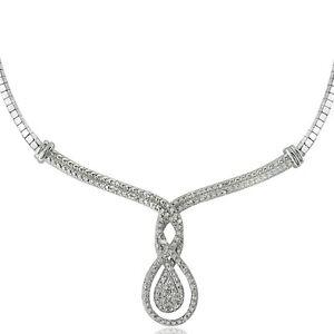 "1/4 Ct Diamond Intertwining Infinity Omega Necklace, 18"""