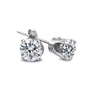 1/5 Ct Round Diamond 14K White Gold Stud Earrings