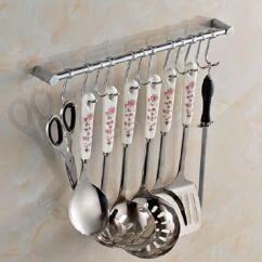 Kitchen Tool Holder Counter Designs Cupboard Wall Mounted 12 Hooks Utensils Hanging Rail Rack