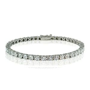 Sterling Silver 3mm Round Crystal Tennis Bracelet with Swarovski Elements